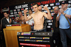 Sasha Yengoyan during official weighing of boxers Dejan Zavec alias Jan Zaveck of Slovenia and Sasha Yengoyan of Belgium, on April 10, 2015 in Hotel Primus, Ptuj, Slovenia. Photo by Crtomir Goznik / Sportida