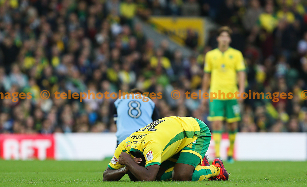 Cameron Jerome of Norwich City suffers a head injury during the Sky Bet Championship match between Norwich City and Rotherham United at Carrow Road in Norwich. October 15, 2016.<br /> Arron Gent / Telephoto Images<br /> +44 7967 642437