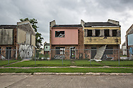 May 25, 2015, New Orleans, LA, Blighted housing units, part of HANO's public housing development, Press Park, remain standing after almost ten years after Hurricane Katrina flooded the area. The projects were built on top of a toxic waste site in the upper 9th ward, complicating the tear down process.
