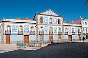 Casa de Santa Zita, Aveiro, Portugal AKA Palacete Visconde da Granja, 19th century building covered with typical colorful blue ceramic tiles called  azulejos.