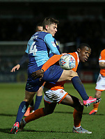 Blackpool's Marc Bola battles for possession with Wycombe Wanderers' Dominic Gape<br /> <br /> Photographer Lee Parker/CameraSport<br /> <br /> The EFL Sky Bet League One - Wycombe Wanderers v Blackpool - Tuesday 28th January 2020 - Adams Park - Wycombe<br /> <br /> World Copyright © 2020 CameraSport. All rights reserved. 43 Linden Ave. Countesthorpe. Leicester. England. LE8 5PG - Tel: +44 (0) 116 277 4147 - admin@camerasport.com - www.camerasport.com