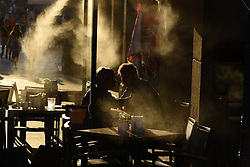 August 3, 2017 - Madrid, Madrid, Spain - Fans spraying water on clients in a terrace of a bar near at 'Mayor' square in Madrid, where high temperatures reached up 38º degrees during the afternoon hours. (Credit Image: © Jorge Sanz/Pacific Press via ZUMA Wire)