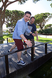 VALE DO LOBO, PORTUGAL - Wednesday, May 25, 2016: Wales Online reporter Chris Wathan and Sky Sports cameraman Alex Gage during day two of the pre-UEFA Euro 2016 training camp at the Vale Do Lobo resort in Portugal. (Pic by David Rawcliffe/Propaganda)