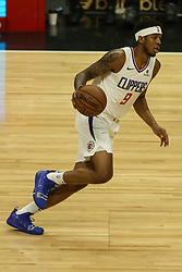 December 17, 2018 - Los Angeles, CA, U.S. - LOS ANGELES, CA - DECEMBER 17: Los Angeles Clippers Guard Tyrone Wallace (9) dribbling during the Portland Trail Blazers at Los Angeles Clippers NBA game on December 17, 2018 at Staples Center in Los Angeles, CA.. (Photo by Jevone Moore/Icon Sportswire) (Credit Image: © Jevone Moore/Icon SMI via ZUMA Press)