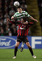 Photo: Paul Thomas.<br /> Glasgow Celtic v AC Milan. UEFA Champions League. Last 16, 1st Leg. 20/02/2007.<br /> <br /> Alberto Gilaedino (11) of Milan feels the pressure of Darren O'Dea.