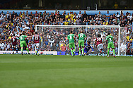 Scott Sinclair of Aston Villa (9) scores his teams 1st goal from a penalty. Barclays Premier League match, Aston Villa v Sunderland at Villa Park in Birmingham, Midlands on Saturday 29th August  2015.<br /> pic by Andrew Orchard, Andrew Orchard sports photography.