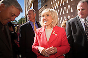 14 FEBRUARY 2011 - PHOENIX, AZ:  Arizona Governor JAN BREWER greets well wishers after speaking at Statehood Day observances at the State Capitol in Phoenix Monday. Arizona became the 48th state in the United States on Feb. 14, 1912. Gov. Brewer announced that the state is planning a series of centennial events leading up to Feb 14, 2012 for the coming year during her speech at the state capitol Monday morning.    Photo by Jack Kurtz