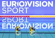 Venues Sponsor<br /> Eurovision Sport<br /> - (white cap) vs  -(blue cap)<br /> LEN Champions League Ostia<br /> Polo Natatorio Freccia Rossa <br /> Ostia, Italy ITA <br /> Photo © G. Scala/Deepbluemedia