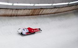 20.02.2016, Olympiaeisbahn Igls, Innsbruck, AUT, FIBT WM, Bob und Skeleton, Damen, Skeleton, 3. Lauf, im Bild Kimberley Bos (NED) // Kimberley Bos of Netherlands competes during women Skeleton 3rd run of FIBT Bobsleigh and Skeleton World Championships at the Olympiaeisbahn Igls in Innsbruck, Austria on 2016/02/20. EXPA Pictures © 2016, PhotoCredit: EXPA/ Johann Groder
