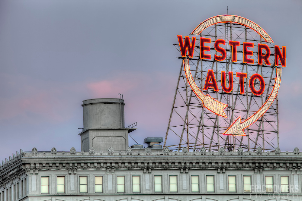 Western Auto Lofts building and sign near the Crown Center area of downtown Kansas City, Missouri - taken from a residential parking garage in the Crossroads District.