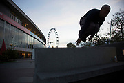 Parkour practitioners on the Southbank, London, United Kingdom. The South Bank is a significant arts and entertainment district, and home to an endless list of activities for Londoners, visitors and tourists alike.