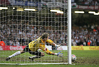 Photo: Lee Earle.<br /> Barnsley v Swansea City. Coca Cola League 1. Play off Final. 27/05/2006. Barnsley keeper Nick Colgan saves the vital penalty from Alan Tate to win promotion.,
