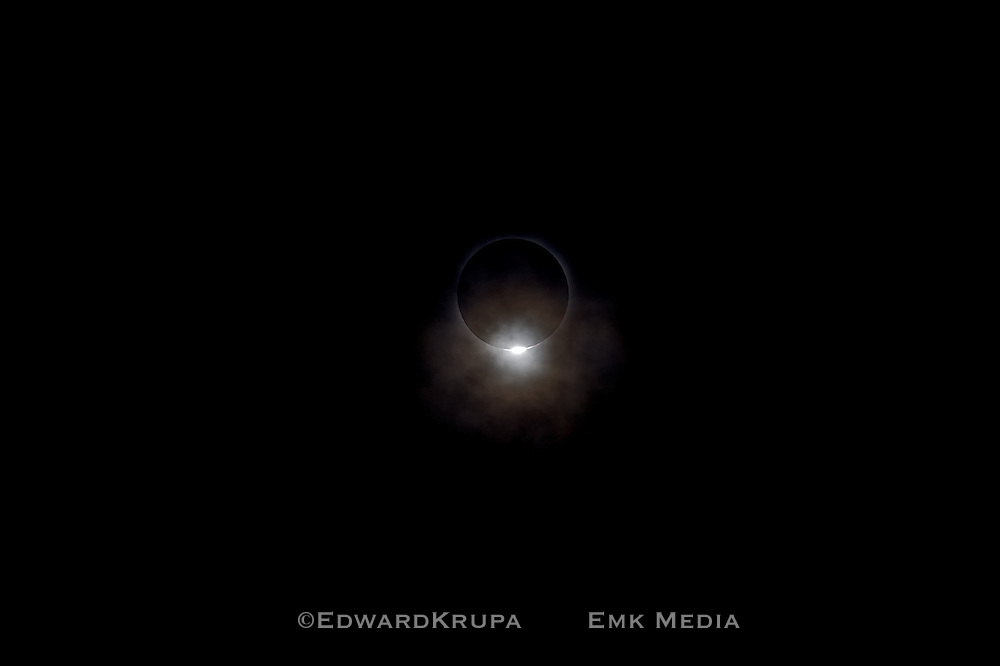 """Total solar eclipse at the moment referred to as the """"diamond ring"""", China 2009."""