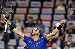 October 12, 2017  Rafael Nadal of Spain celebrates after the singles third round match against F. Fognini of Italy at 2017 ATP Shanghai Masters tennis tournament in Shanghai, east China. Nadal won 2-0. (Credit Image: © Fan Jun/Xinhua via ZUMA Wire)