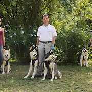 Mickael (Husky with Samoyedo, 3 years old) with Mariana the owner of the 3 dogs. Nikko (husky 2 years old) Alejandro the Dog Trainer and Izzie (Husky 4 years old). Vanessa with Tango, my dog.