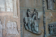 Israel, Lower Galilee, Nazareth. the Basilica of the Annunciation. details of the artwork on the door