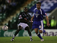 Photo: Lee Earle.<br /> Plymouth Argyle v Cardiff City. Coca Cola Championship. 12/09/2006. Cardiff's Stephen McPhail (R) battles with Sylvan Ebanks-Blake.