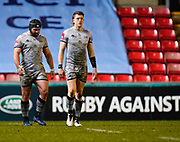 Sale Sharks prop Bevan Rodd and centre Sam James after his try during a Gallagher Premiership Round 7 Rugby Union match, Friday, Jan. 29, 2021, in Leicester, United Kingdom. (Steve Flynn/Image of Sport)