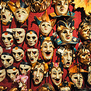 Masks on display inside the workshop of Mascareri in Venice. Artisans, masks and costumes makers are getting ready ahead of Venice Carnival 2013