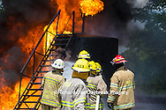 63818-02513 Firefighters at oilfield tank training, Marion Co., IL