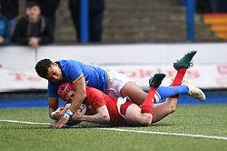 Wales Scrum Half Dafydd Buckland scores<br /> Photographer Mike Jones/Replay Images<br /> <br /> Wales U18s v Italy U18s<br /> Six Nations, Sunday 8th April 2018, <br /> Cardiff Arms Park, Cardiff, <br /> <br /> World Copyright © Replay Images . All rights reserved. info@replayimages.co.uk - http://replayimages.co.uk