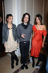 Left to right, ROSE HANBURY, PIERS JACKSON and MARINA HANBURY at a party to celebrate the publication of The End of Sleep by Rowan Somerville held at the Egyptian Embassy, London on 27th March 2008.<br /><br />NON EXCLUSIVE - WORLD RIGHTS