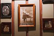 Moscow, Russia, 28/03/2012..Old photographs on the walls inside the Oblomov Russian restaurant.