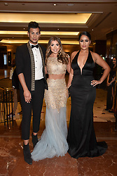 Left to right, Junaid Ahmed, Abi Clarke and Malin Andesson at The Asian Awards, The Hilton Park Lane, London England. 5 May 2017.<br /> Photo by Dominic O'Neill/SilverHub 0203 174 1069 sales@silverhubmedia.com