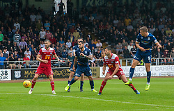 Dundee's Andrew Nelson (9) scoring their goal. Dundee 1 v 0 Ayr United, Scottish Championship game played 10/8/2019.