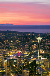 United States, Washington, Seattle, Seattle Center with Key Arena and Space Needle at sunset, viewed from above