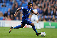 Nathaniel Mendez-Laing of Cardiff City in action. EFL Skybet championship match, Cardiff city v Derby County at the Cardiff city stadium in Cardiff, South Wales on Saturday 30th September 2017.<br /> pic by Andrew Orchard, Andrew Orchard sports photography.
