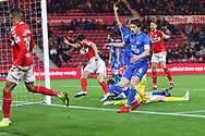 Middlesbrough defender George Friend (3) celebrates after scoring his team's second goal during The FA Cup 3rd round match between Middlesbrough and Peterborough United at the Riverside Stadium, Middlesbrough, England on 5 January 2019.