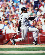 MILWAUKEE - 1992:  Frank Thomas of the Chicago White Sox bats during an MLB game at County Stadium in Milwaukee, Wisconsin.  Thomas played for the White Sox from 1990-2005. (Photo by Ron Vesely)