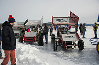 Spectators were able to get an up close look at the Modified and Sprint cars lined up along the track in between races during the Nostalgic Latchkey Cup on Meredith Bay Sunday afternoon.  (Karen Bobotas/for the Laconia Daily Sun)