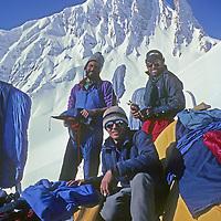 Allan Pietrasanta, Gordon Wiltsie & Jay Jensen camp near the summit of Gulol Pass in Kashmir, just before getting avalanched in their ski mountaineering traverse of India's Great Himalaya Range.