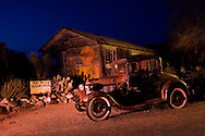 Route 66, Hackberry General Store, Hackberry, Arizona, night, vintage car, gas station, vintage gas station