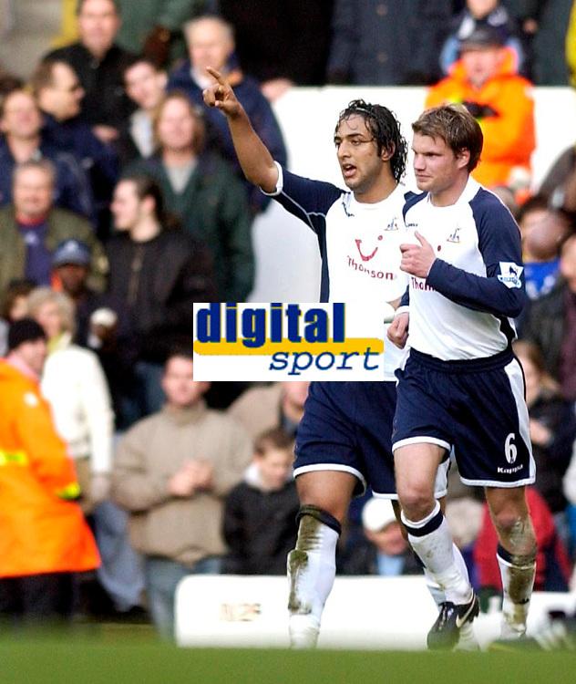 Photo: Daniel Hambury.<br />Tottenham Hotspur v Newcastle United. The Barclays Premiership. 31/12/2005.<br />Tottenham's Mido (L) celebrates scoring the second goal.