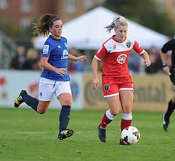 Bristol Academy's Nikki Watts attacks in Everton's half. - Photo mandatory by-line: Alex James/JMP - Mobile: 07966 386802 23/08/2014 - SPORT - FOOTBALL - Bristol  - Bristol Academy v Everton Ladies - FA Women's Super league