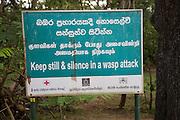 Warning sign about wasp attack, Sigiriya, Central Province, Sri Lanka, Asia