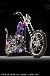 Brian Mccleary, a purple 1979 Shovel by Jamie Elswick. Photographed by Michael Lichter in Sacramento, CA January 11, 2018. ©2018 Michael Lichter