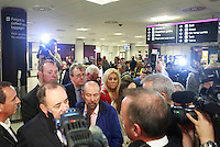 Alex Salmond talking to the TV press.<br /> Pro-independence business leaders gather.  Brian Souter of Stagecoach, Marie MacKlin of Klin Group, Ralph Topping, former chief executive of William Hill, and Mohammed Ramzen, of United Wholesalers. Welcome to Scotland sign, International Arrivals, Edinburgh Airport.<br /> Pako Mera/Universal News And Sport (Europe) 15/09/2014