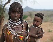 Africa, Ethiopia, Omo River Valley Hamer Tribe woman and baby