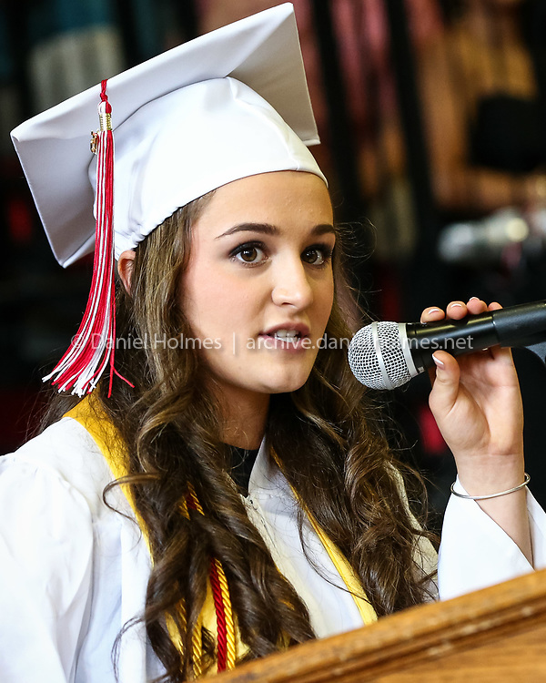 (5/31/15, MILFORD, MA) Class president Taylor Gilliatt makes some remarks during the Milford High graduation ceremony at Milford High School on Sunday. Daily News and Wicked Local Photo/Dan Holmes