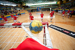 Ball on the goal at warming up prior to the handball match between RK Cimos Koper (SLO) and Benfica (POR) in return final match of EHF Challenge Cup, on May 22, 2011 in Arena Bonifika, Koper, Slovenia.  (Photo By Vid Ponikvar / Sportida.com)