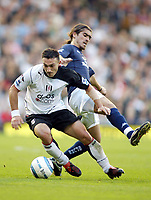 30/10/2004<br />FA Barclays Premiership - Fulham v Tottenham Hotspur - Craven Cottage, London<br />Fulham's Steed Malbranque gets ahead of Tottenham Hotspur's Pedro Mendes<br />Photo:Jed Leicester/Back Page Images