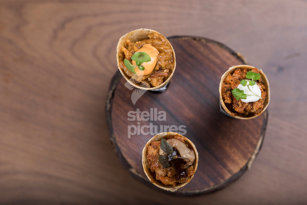 Mathrio trio: smoked aubergine bharta, duck khurchan and methi murgh at Indian Accent restaurant, Mayfair.<br /> Picture by Daniel Hambury/Stella Pictures Ltd 07813022858<br /> 05/01/2018