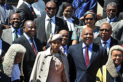 SADC Facilitator and South African Deputy President Cyril Ramaphosa, SADC Executive Secretary Stegoman, Prime Minister Tom Thabane, His Majesty, King Letsie III and his Wife take a family photo ahead of the reconvening of the Kingdom of Lesotho's Parliament. Elmond Jiyane, GCIS. 17/10/2014