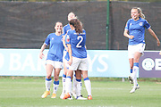 Everton Women celebrate after equalising during the FA Women's Super League match between Everton Women and Brighton and Hove Albion Women at the Select Security Stadium, Halton, United Kingdom on 18 October 2020.