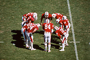 COLLEGE FOOTBALL:  The Stanford Cardinal offense huddles during a game in the 1984 season played at Stanford Stadium in Palo Alto, California.  Visible players include quarterback John Paye #14, Greg Baty #84, Thomas Henley #20, Emile Harry #10, Jeff James #3, Jeff Deaton #64.  Photograph by David Madison   www.davidmadison.com