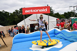Latitude Festival, Henham Park, Suffolk, UK July 2018. Action Aid surfing challenge